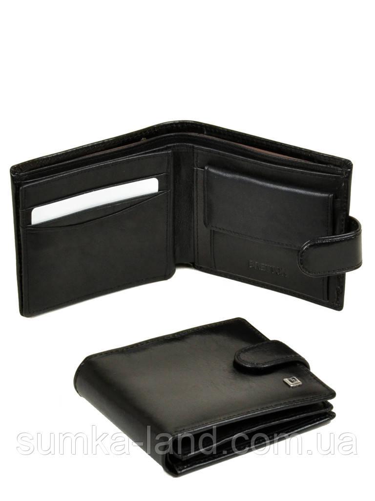 Черный мужской кошелек кожаный монетницей на кнопке Bretton (11,5*9,5 см)