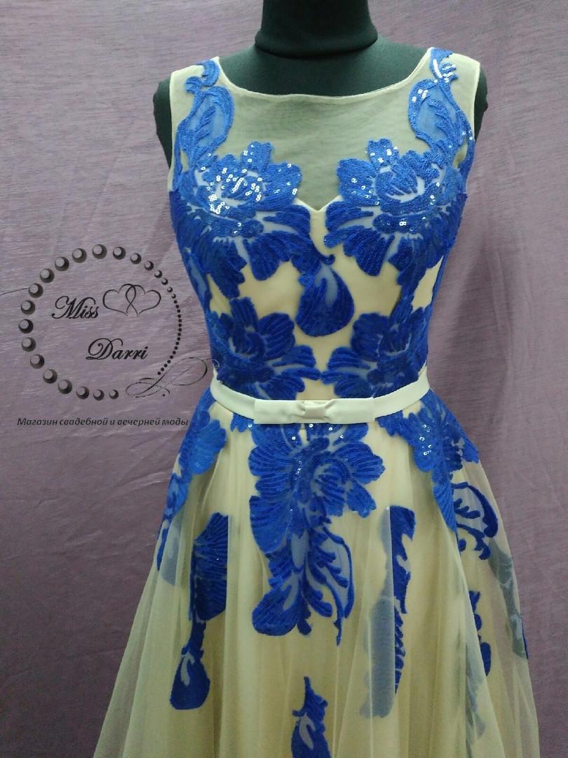 da65f28c3ce Вечернее выпускное платье в цвете нюд с синим  продажа