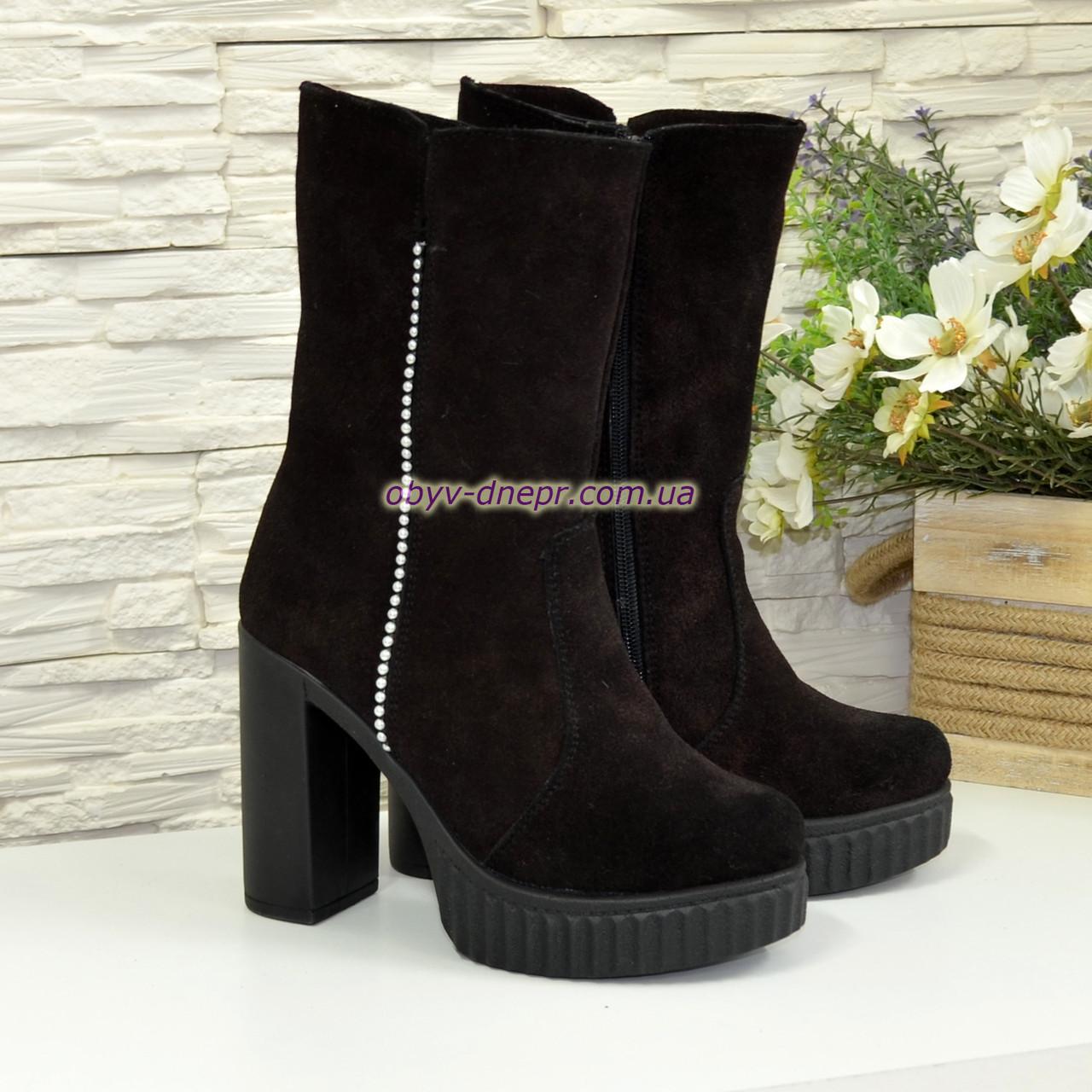 Ботинки зимние замшевые на высоком устойчивом каблуке. 38 размер