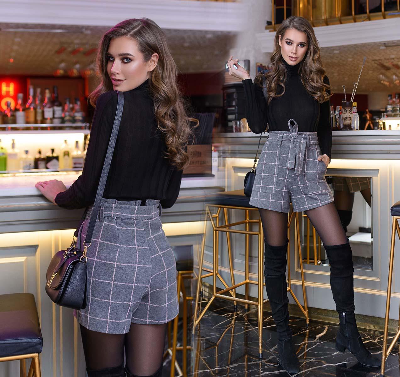 """Тёплые стильные женские шорты до больших размеров 41197 """"Кашемир Клетка"""" в расцветках"""