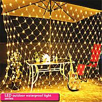 Светодиодная гирлянда сетка  200 LED 2х3 метра желтый, фото 1