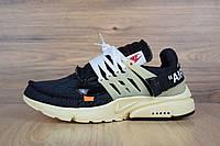 Мужские кроссовки Nшke Air Presto Off-White черные на бежевой gjljidt топ реплика