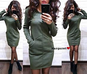 Женское стильное теплое платье  РАЗНЫЕ ЦВЕТА Код. Е1113-0100