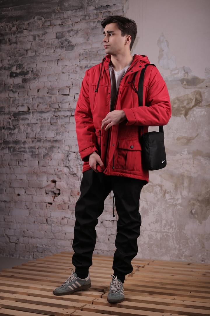 Комплект: Весенняя мужская парка Найк + штаны. Барсетка Nike и перчатки в Подарок.