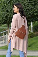 Компактная кожаная сумка-рюкзак | Винтажный Коньяк, фото 1