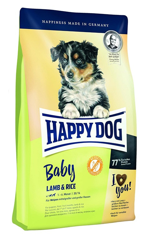 Happy Dog Supreme Baby Lamb & Rice - сухой корм для щенков средних и крупных пород до 6-ти месяцев