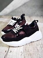 Удобные кроссовки из натуральной кожи 38,40 р вино, фото 1