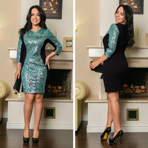 7cd3a34ffdb Платье женское большого размера нарядное по фигуре с отделкой из пайеток  АПП-6115-1 черный+ментоловый