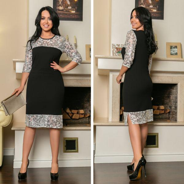6bc6cd588b6 Платье женское большого размера приталенное украшено пайетками АПП-6128-1  черный+белый