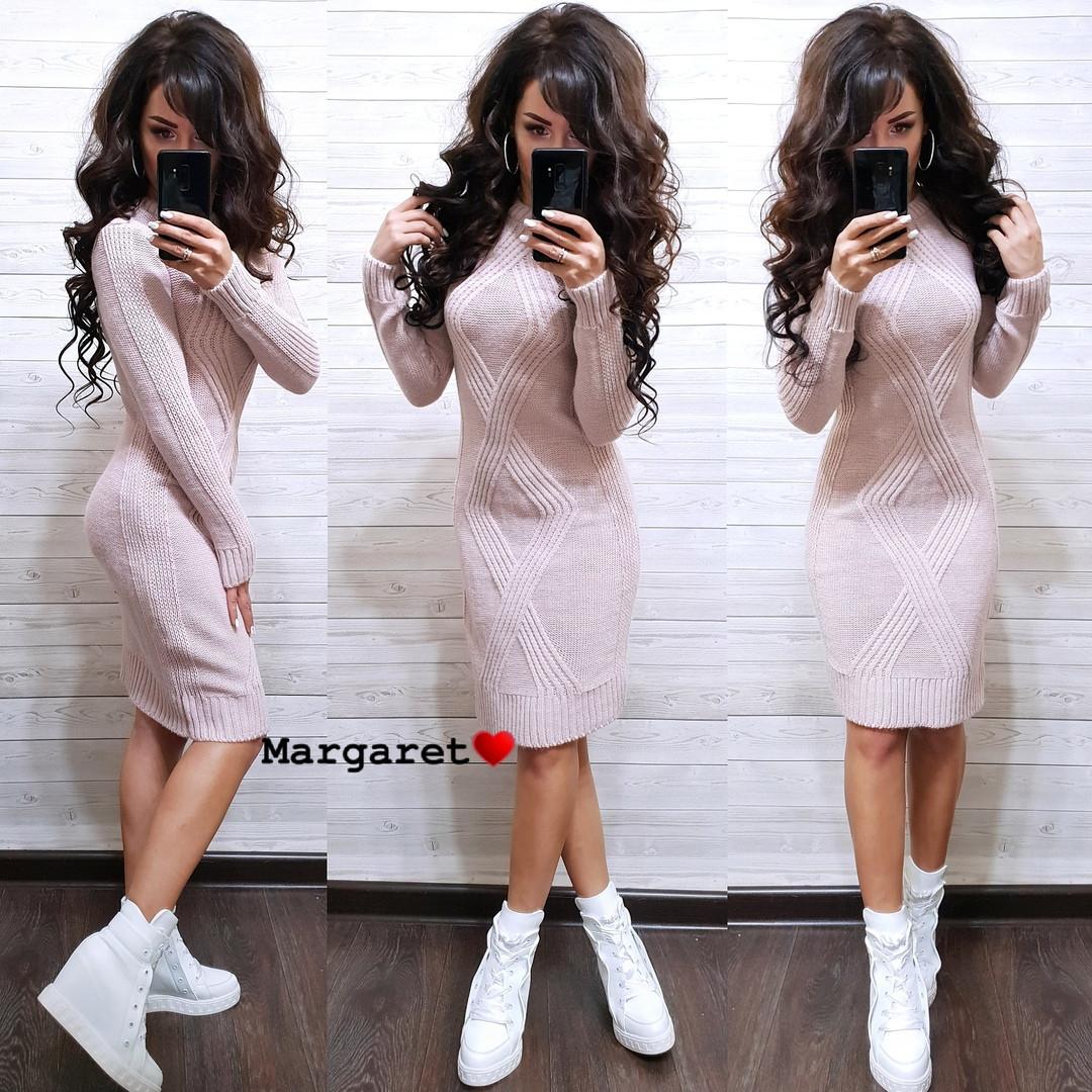 Женское теплое платье миди   РАЗНЫЕ ЦВЕТА Код. Е1113-0101
