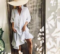 Платье ассиметричное льняное с воланом. Город, пляж, фото 1