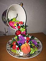 Сувенир (ручная работа) Чаша изобилия (Цветы и фрукты)