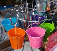 Декоративне (сувенірна), кольорове, залізне відерце, висота 7 див., фото 1