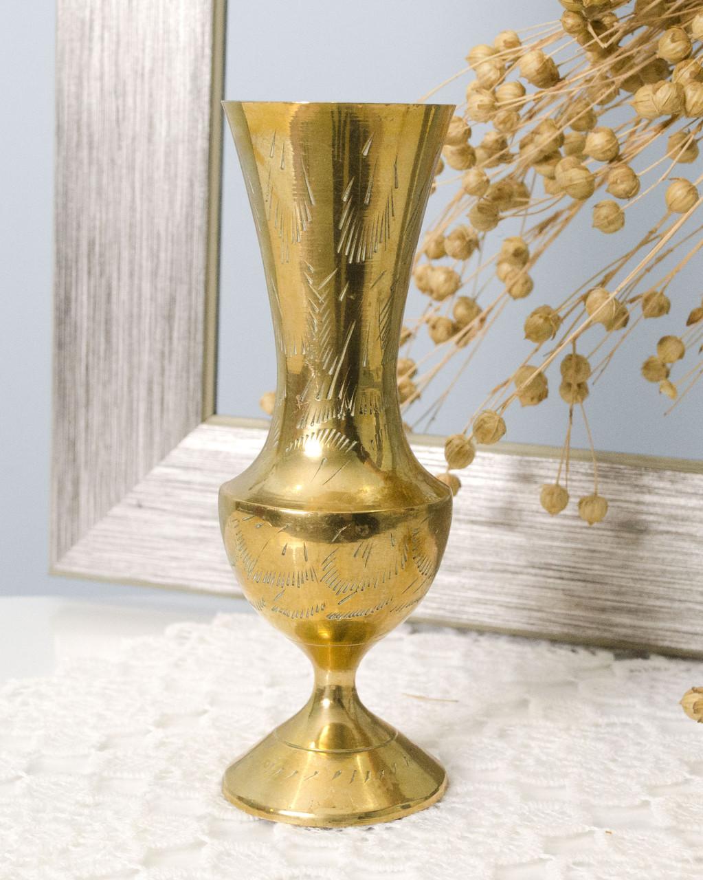 Декоративная индийская ваза, вазочка, латунь, Индия, 70-е года
