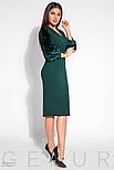 Изумрудное платье миди с бархатными рукавами, фото 2