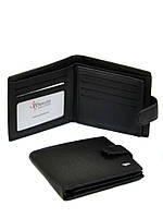 Тонкий мужской кожаный кошелек Dr. Bond черного цвета (12*10 см)