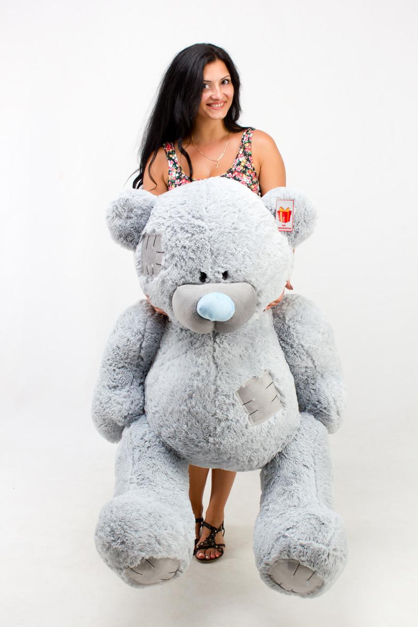 Сірий ведмедик Тедді 1.5 м