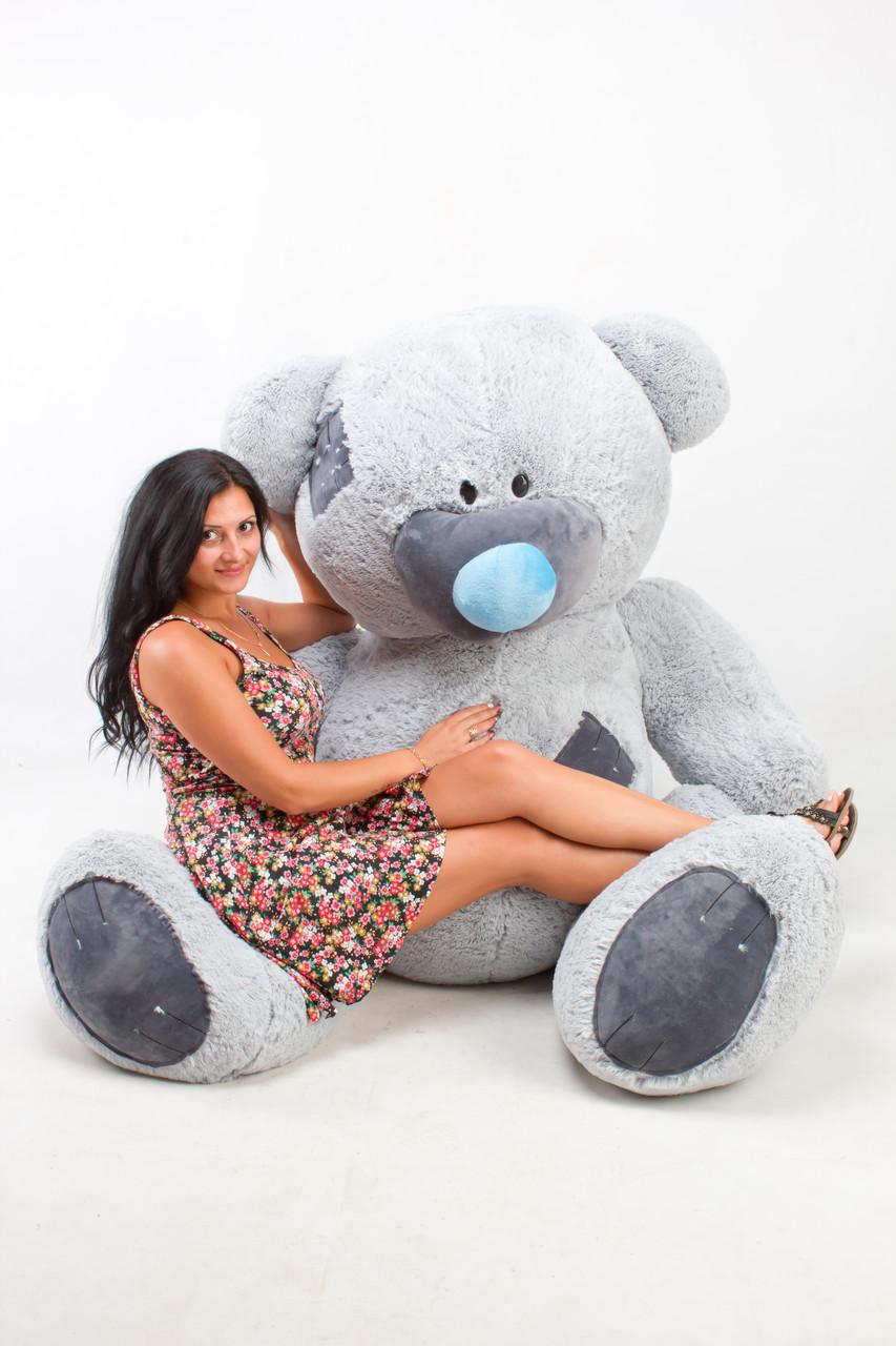 Самий великий плюшевий ведмедик сірий 250 см