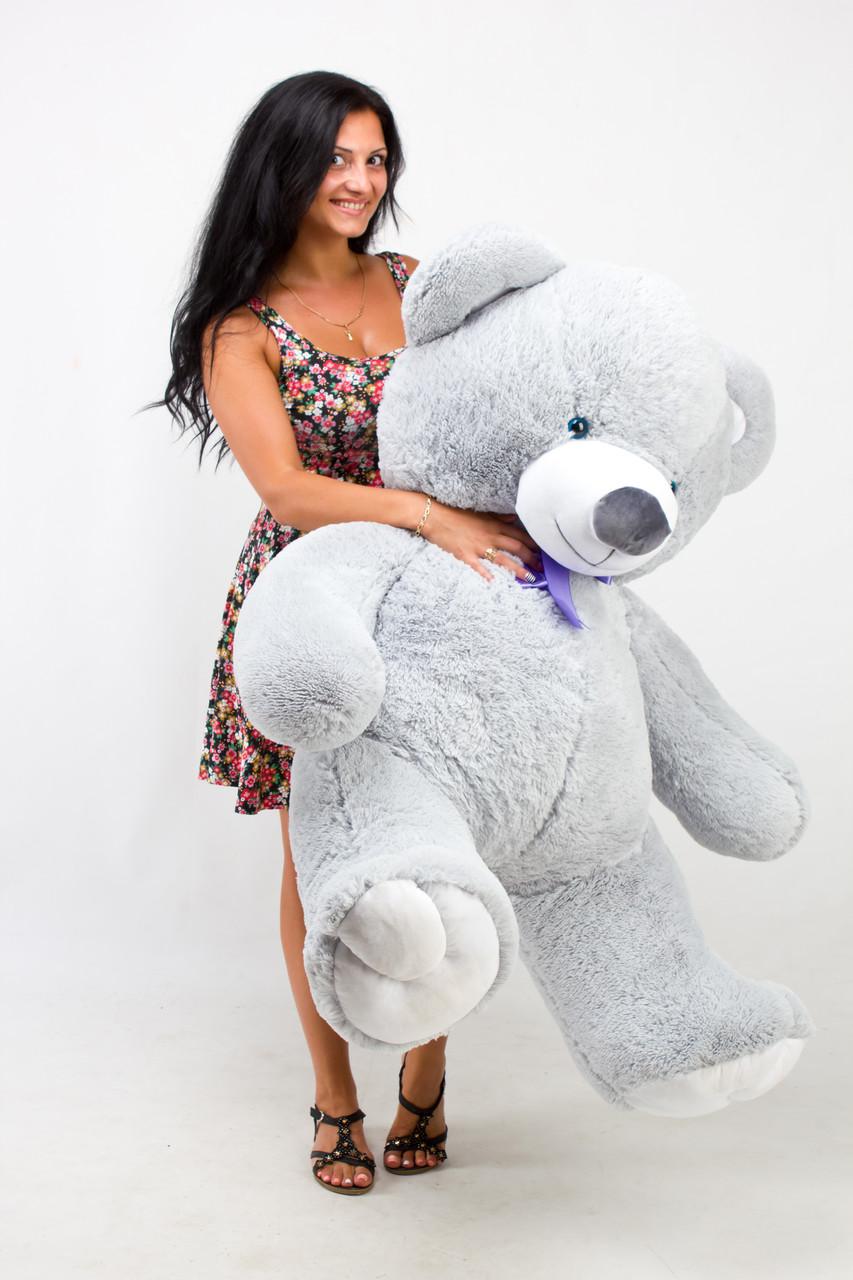 Великий Плюшевий Ведмідь Сірий 150 см. Велика М'яка іграшка Ведмедик Плюшевий Тедды