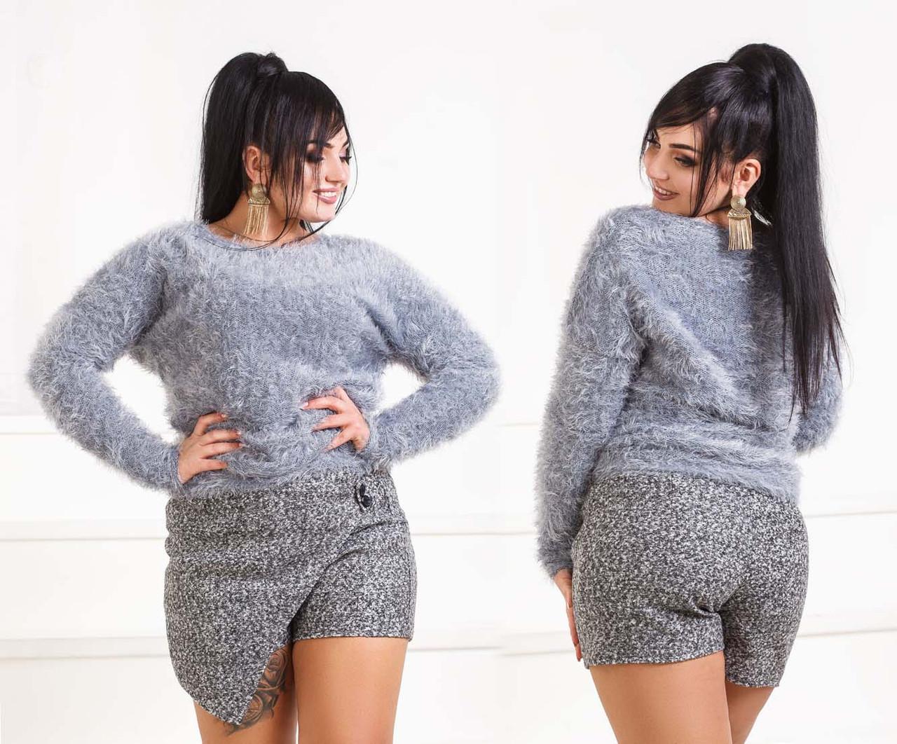 """Стильные женские шорты в больших размерах 509-1 """"Букле Мрамор Запах"""" в расцветках"""