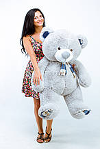 Сірий м'який ведмедик з шарфиком (Тедді)