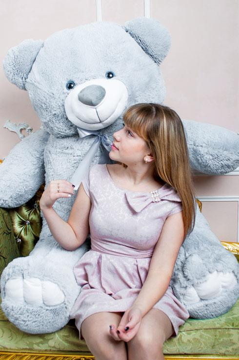 Плюшевий ведмедик Веня сірий 200 см