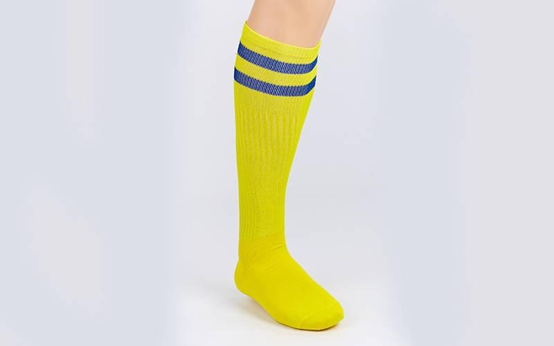 Гетры футбольные взрослые желтые с синей полосой CO-3257-YB