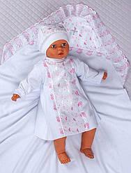 "Набор ""Ангел""крест.пеленка+рубашка+шапочка (белый/розовый, начес, зима, (68-74)прошвенная ткань)"
