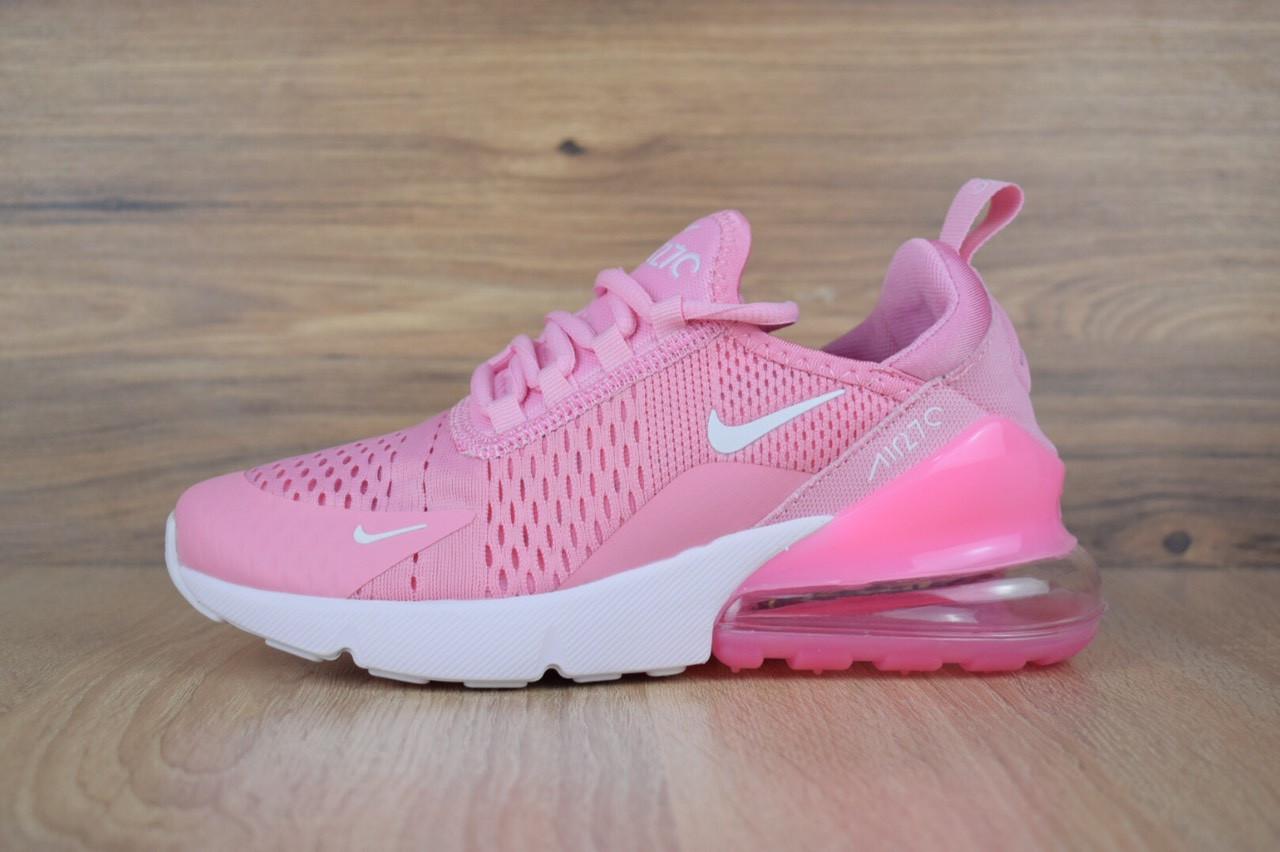 137d4bc8 Женские демисезонные кроссовки Nike Air Max 270 розовые на белой подошве топ  реплика - Интернет-