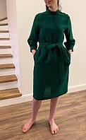 Платье из натурального мягкого льна бутылочного цвета, возможен другой цвет, фото 1