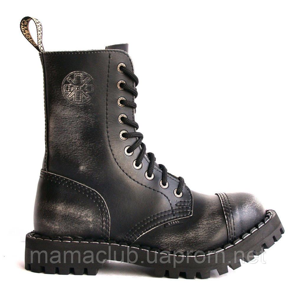 968674bb2 Зимние берцы Steel с шерстью черные с эффектом затертости 10 дырок  105/106/O ...