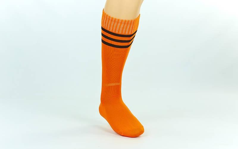 Гетры футбольные взрослые оранжевые с черной полосой CO-120-OR