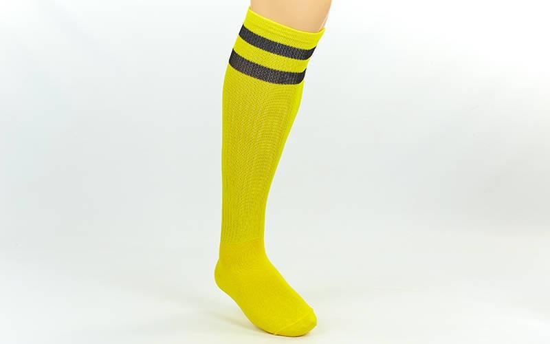 Гетры футбольные взрослые желтые с черной полосой CO-3257-Y