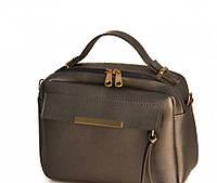 Лакшері жіноча сумочка-саквояж-портфель в 13-и кольорах. Сірий металік.