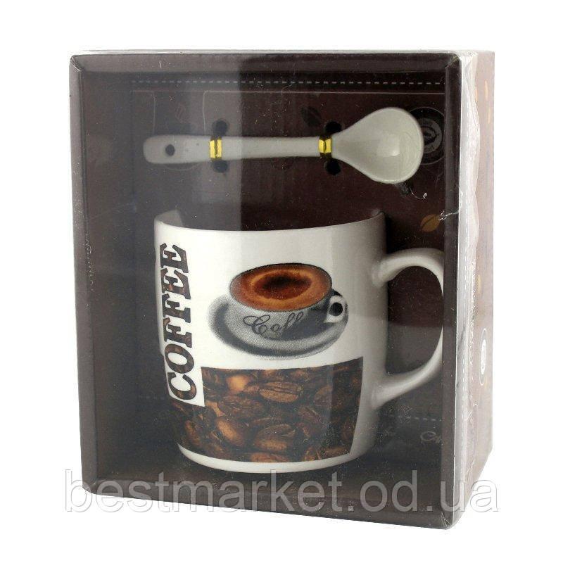 Чашка з ложечкою в подарунковій упаковці Hot Coffee