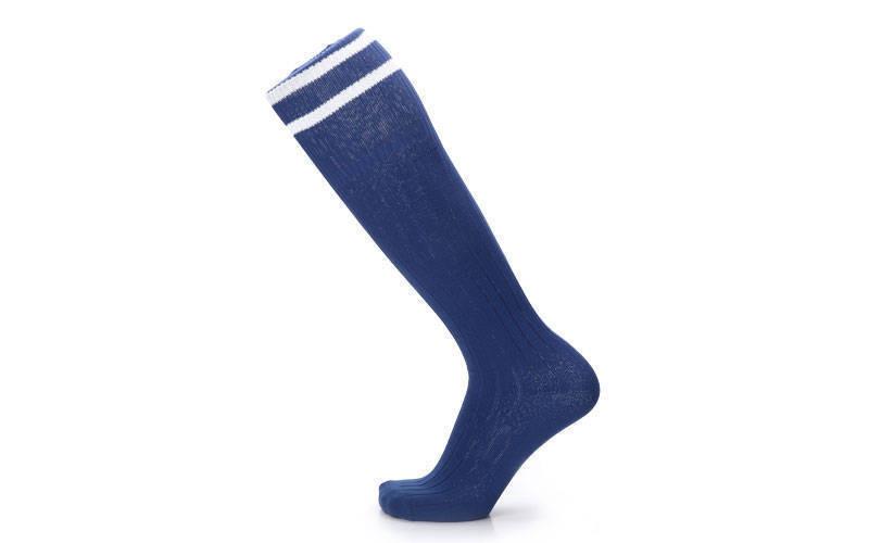Гетры футбольные взрослые темно-синие с белой полосой CO-5607-DB