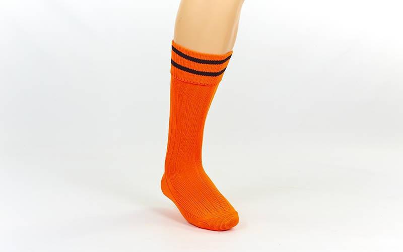 Гетры футбольные юниор оранжевые с черной полосой CO-5602-OR