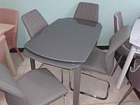 """Кухонный стеклянный стол """"S-4006-2"""" серый раскладной"""