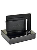 Мужской кожаный зажим для купюр черный 11*8 см