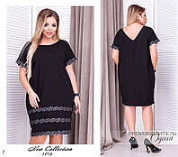 Платье вечернее футляр короткий рукав креп-дайвинг+кружево 50-52,54-56,58-60