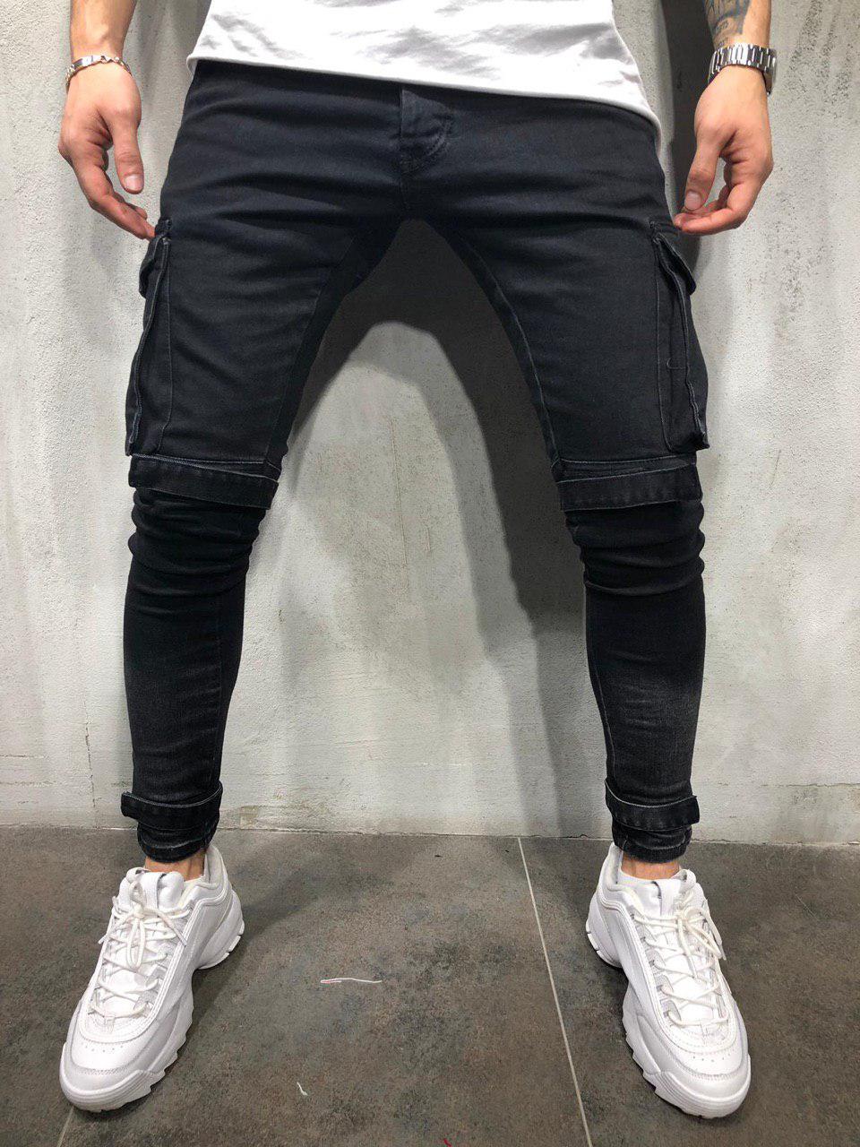 2adfb4ed Мужские джинсы из плотной ткани черные с накладными карманами - Интернет-магазин  обуви и одежды