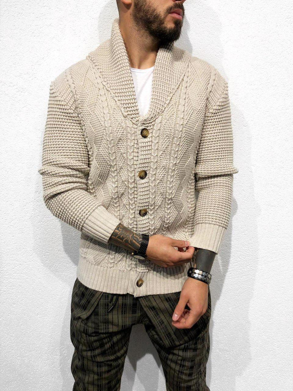 мужской вязаный кардиган бежевого цвета в категории свитеры и