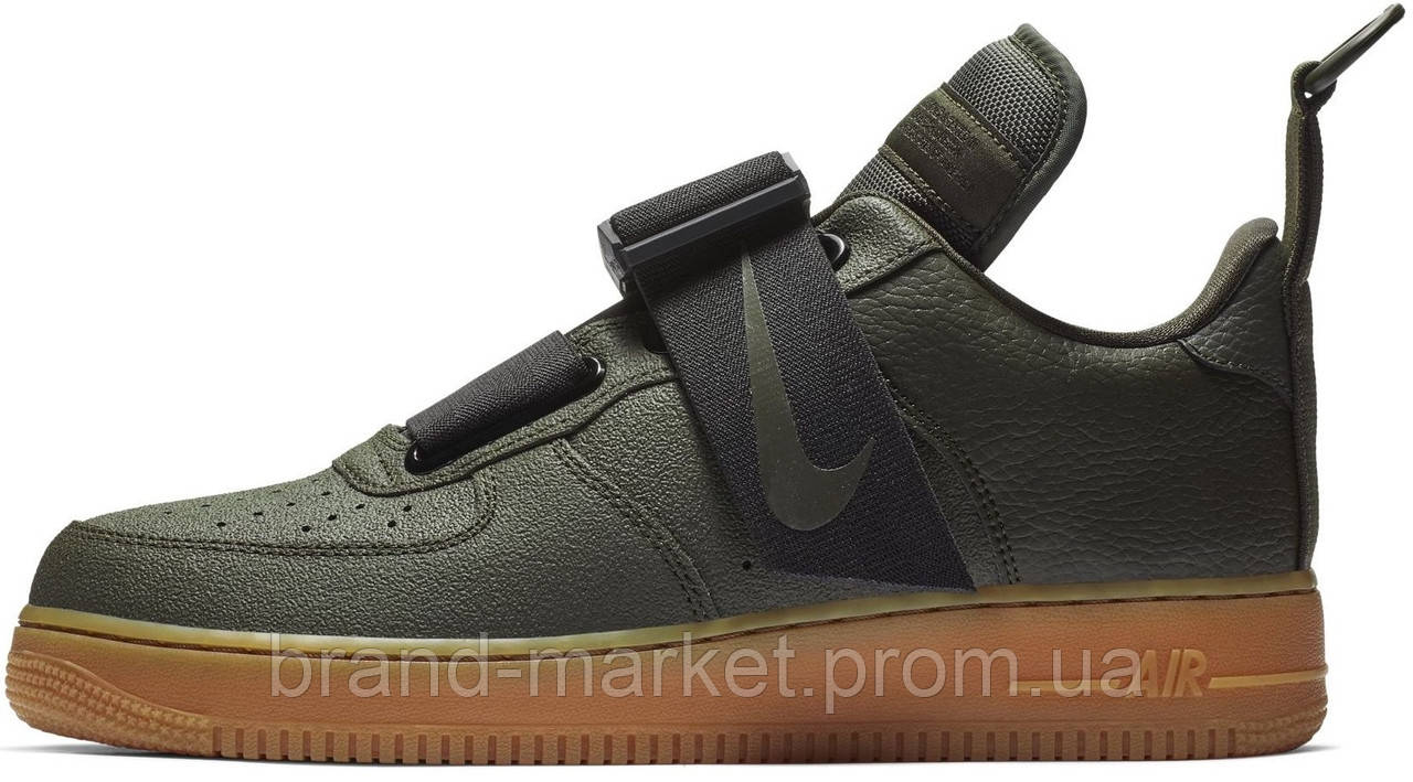 a0b74e3d Мужские кроссовки Nike Air Force 1 Utility Olive Gum (Hайк Аир Форс низкие,  хаки