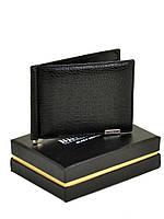 Мужской кожаный магнитный зажим для денег Bretton черный 11,5*8,5 см