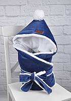 Велюровый конверт-одеяло, на махре, индиго, фото 1
