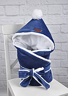 Велюровый конверт-одеяло, на махре, индиго