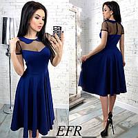 Красивое платье с воротничком вставкой из сеточки и рассклешенной юбкой синее S-M L-XL, фото 1
