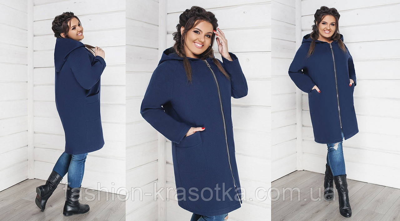 Модное женское пальто на молнии без подкладки,ткань кашемир,размеры  48-50,52-54,56-58 .