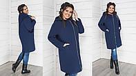 Модное женское пальто на молнии без подкладки,ткань кашемир,размеры  48-50,52-54,56-58 ., фото 1