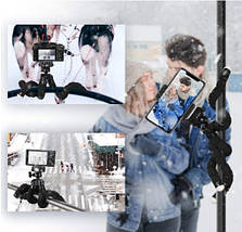 Комплект блогера 4в1 (Серебряная кнопка)  Гибкий штатив Fotopro,Линзы Akinger 7в1,пульт для телефона,микрофон, фото 2